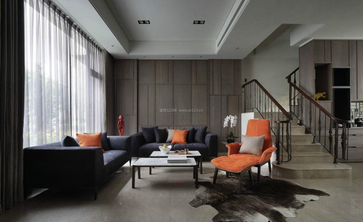 国外家装复式别墅客厅图片_装修123效果图图片
