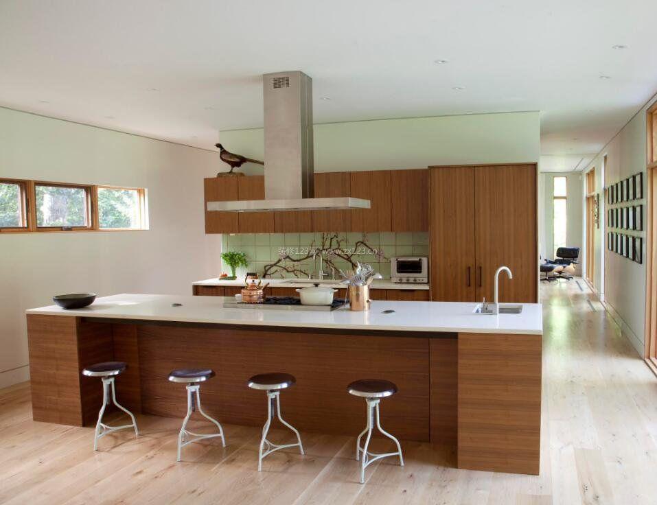 厨房样板间中岛设计实景照片_装修123效果图