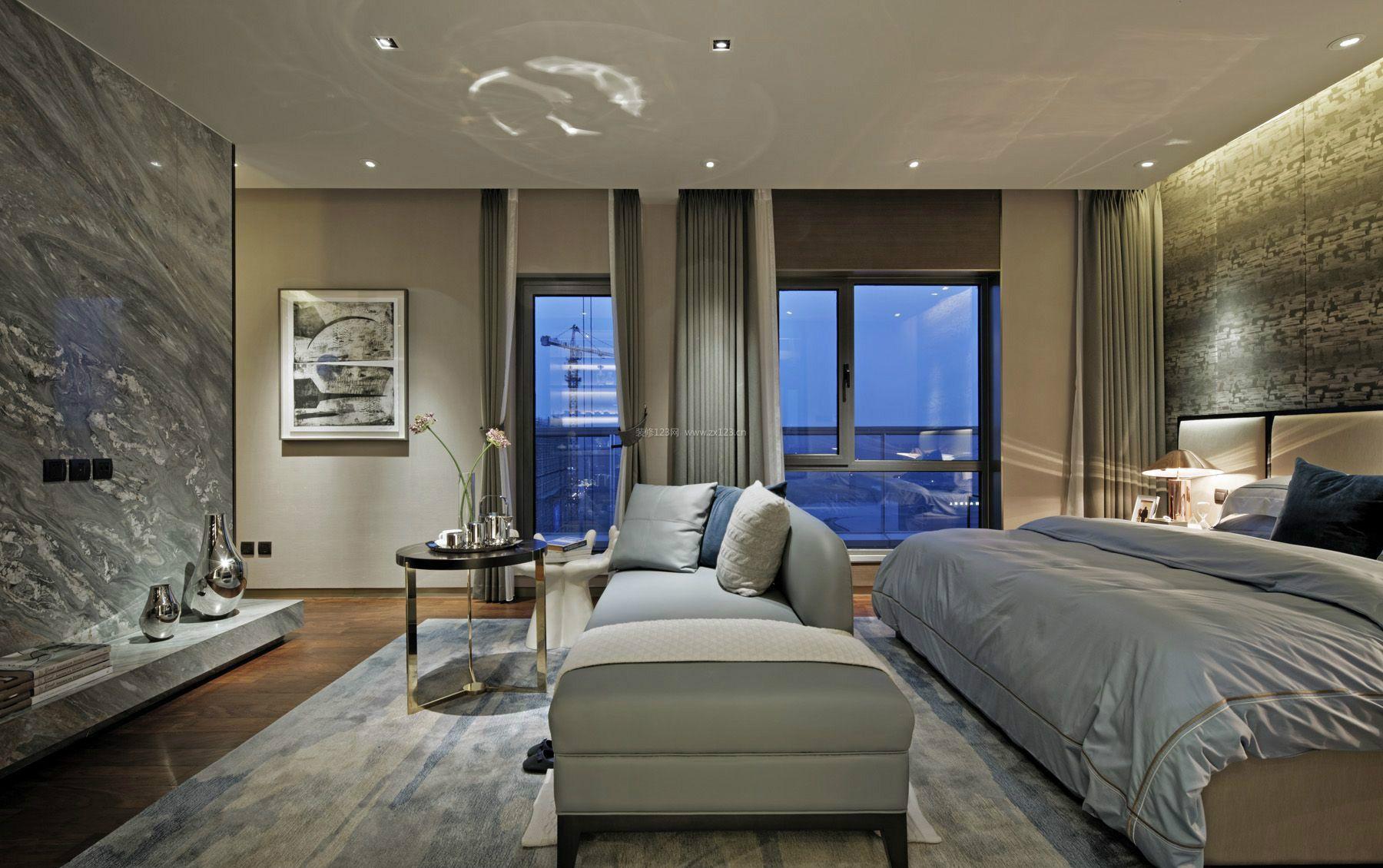 2018现代公寓卧室地毯装修效果图