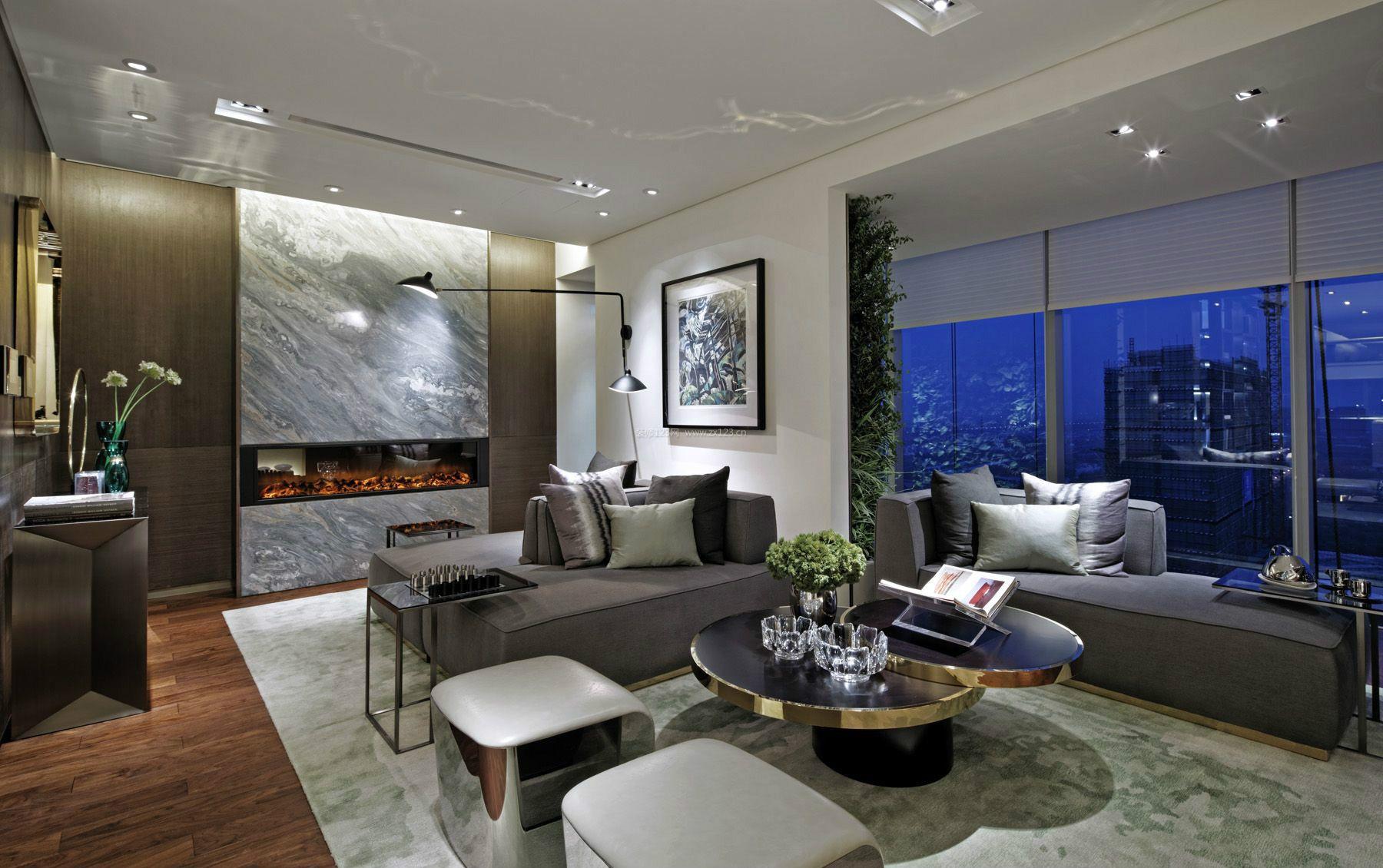 2018酒店式公寓客厅整体装修效果图片