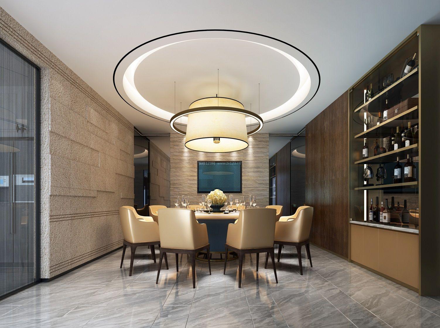 2018现代别墅餐厅圆形吊顶装饰装修效果图