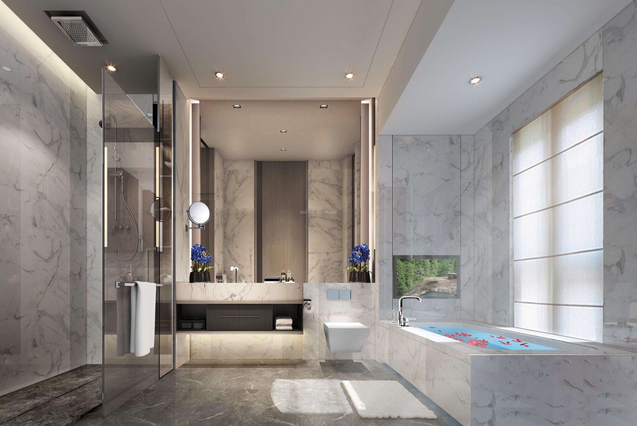 2018现代别墅卫生间带浴缸装修设计效果图