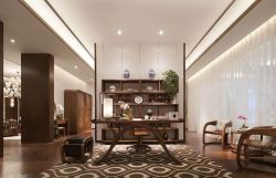 2018新中式書房白色窗簾裝修設計效果圖片