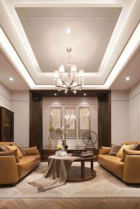 2018大气新中式客厅家居装修效果图 客厅石膏板吊顶