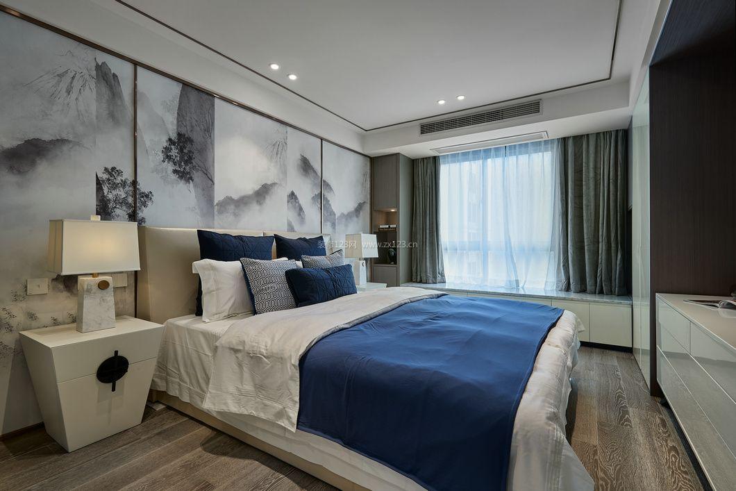 2018新中式卧室背景墙整体装修图片图片