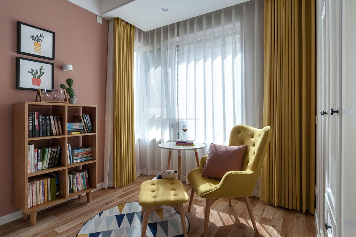 2018北欧卧室黄色窗帘装修设计效果图片图片