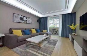 2018淡雅現代簡約客廳效果圖 藍色窗簾裝修效果圖片