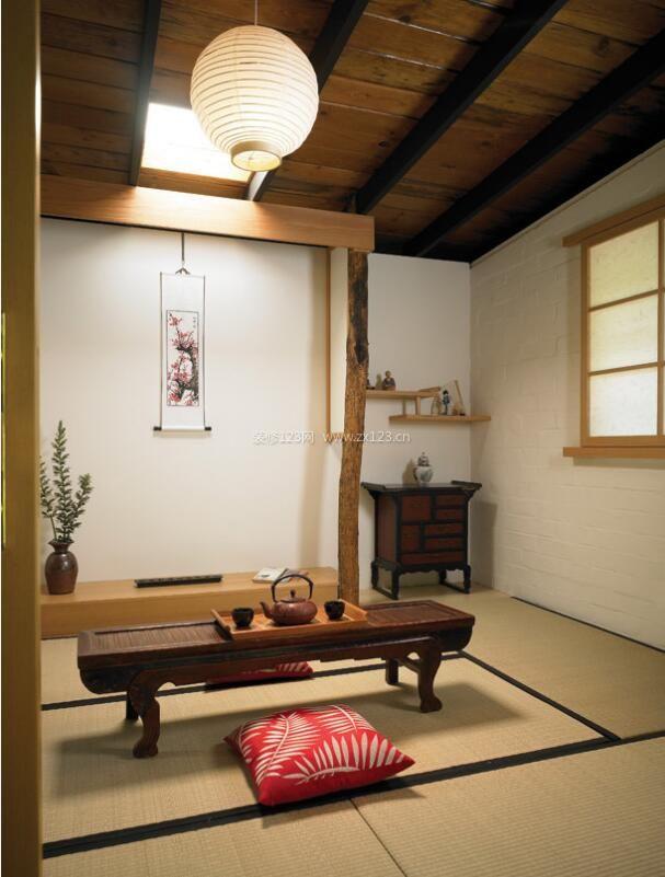 家居茶室日式装修设计效果图平板电脑绘制图片