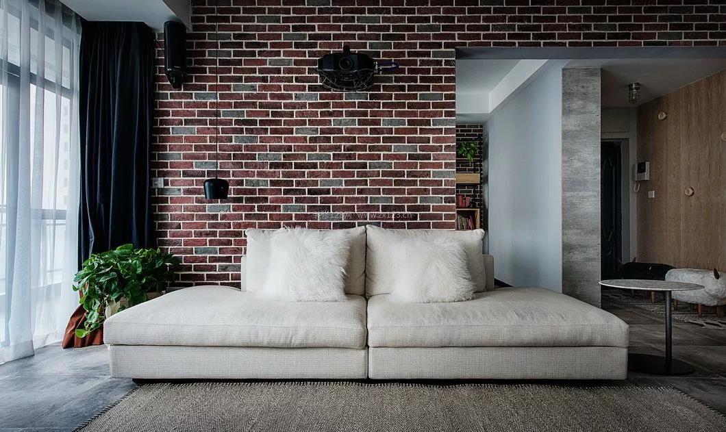 2018工业风格家装沙发背景墙效果图片