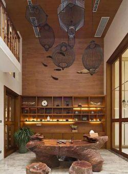 家居茶室根雕茶几装修效果图
