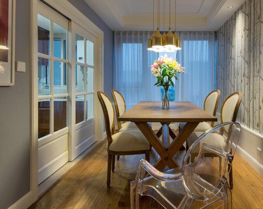 家居饭厅白色柔纱帘设计图_装修123效果图