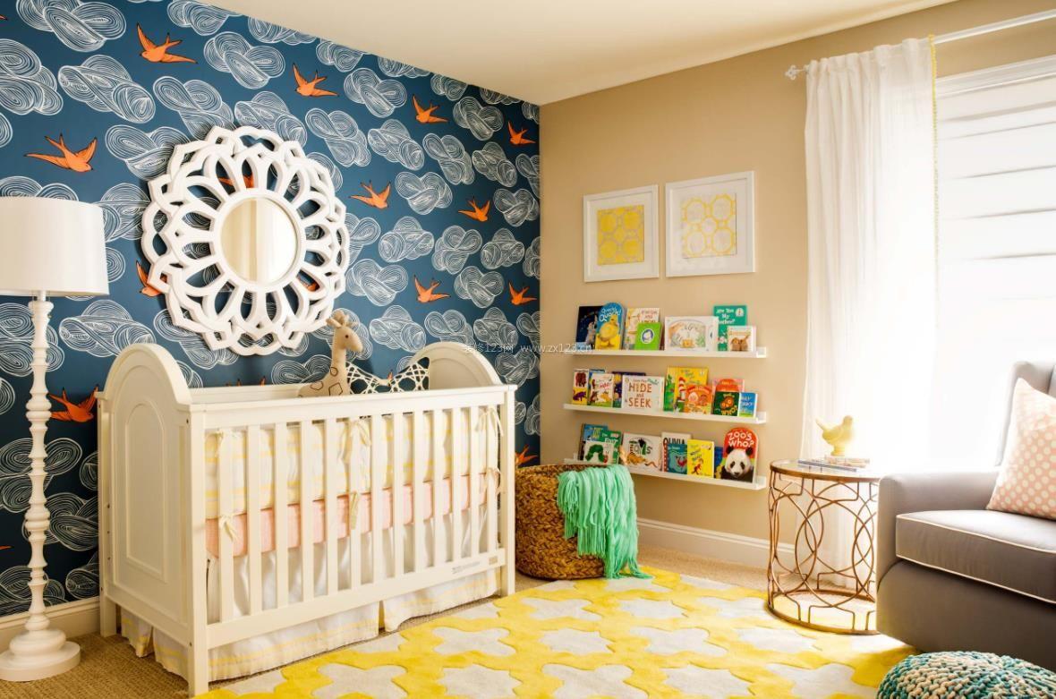2018壁纸墙贴婴儿房效果图_装修123效果图