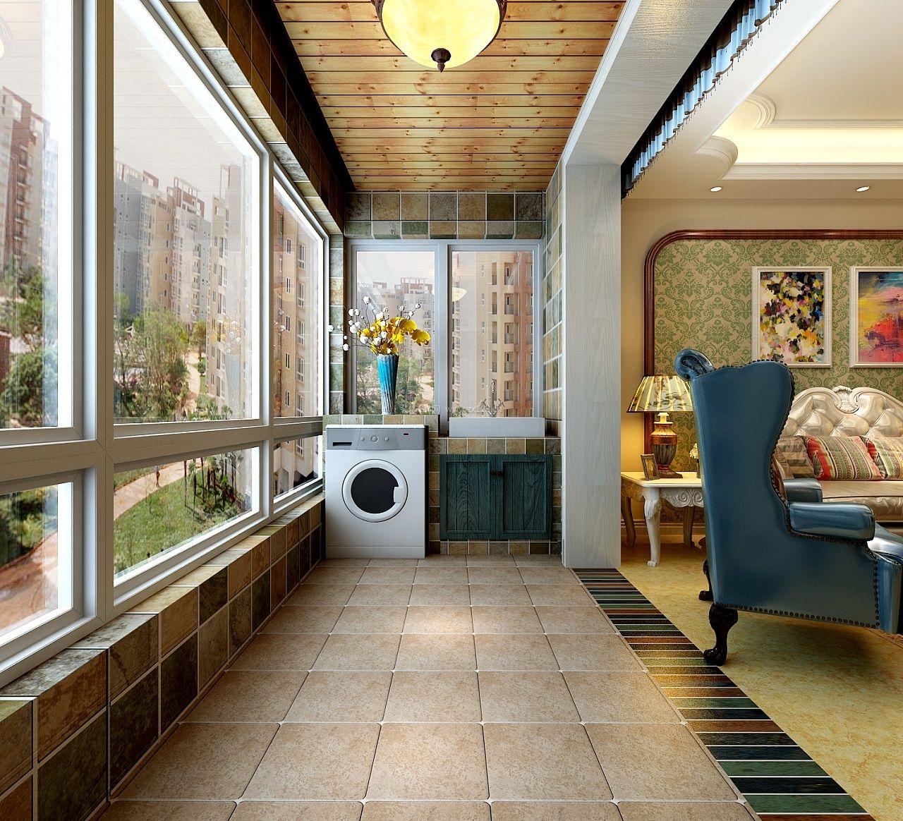 90平米美式风格客厅阳台装修_装修123效果图