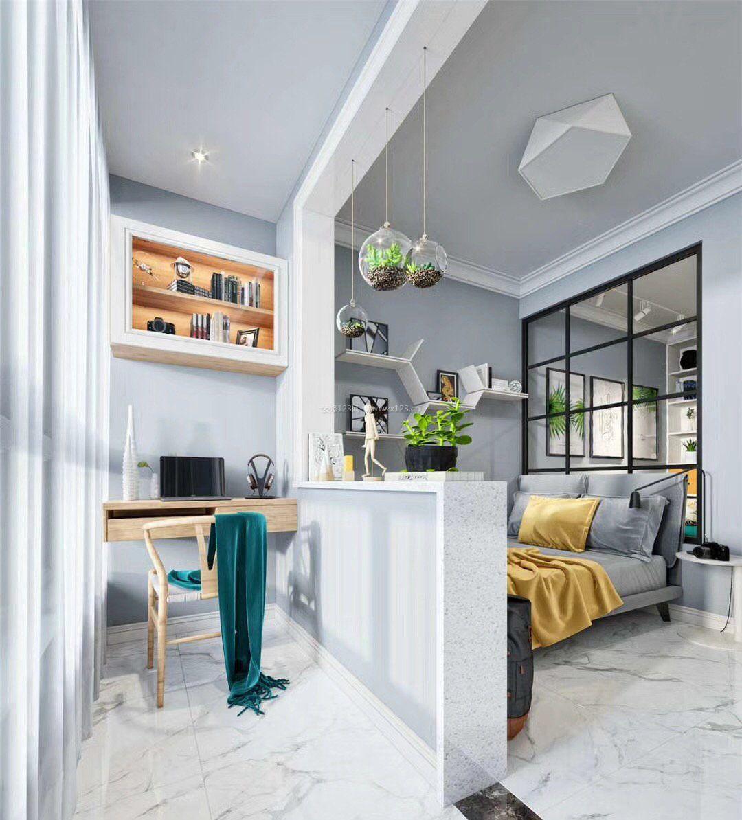 2018北欧室内设计风格阳台书房_装修123效果图