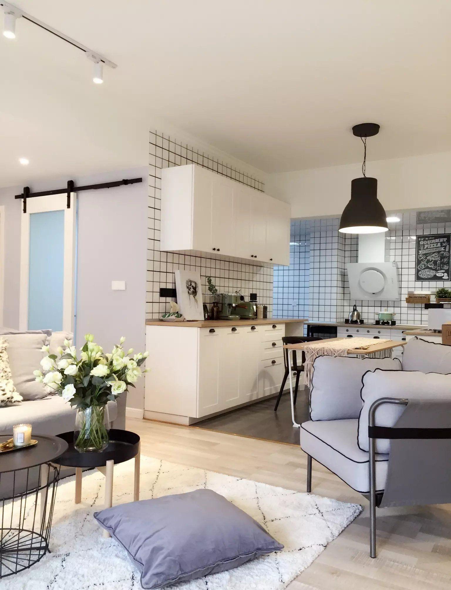 2018北欧室内设计风格开放式厨房效果图