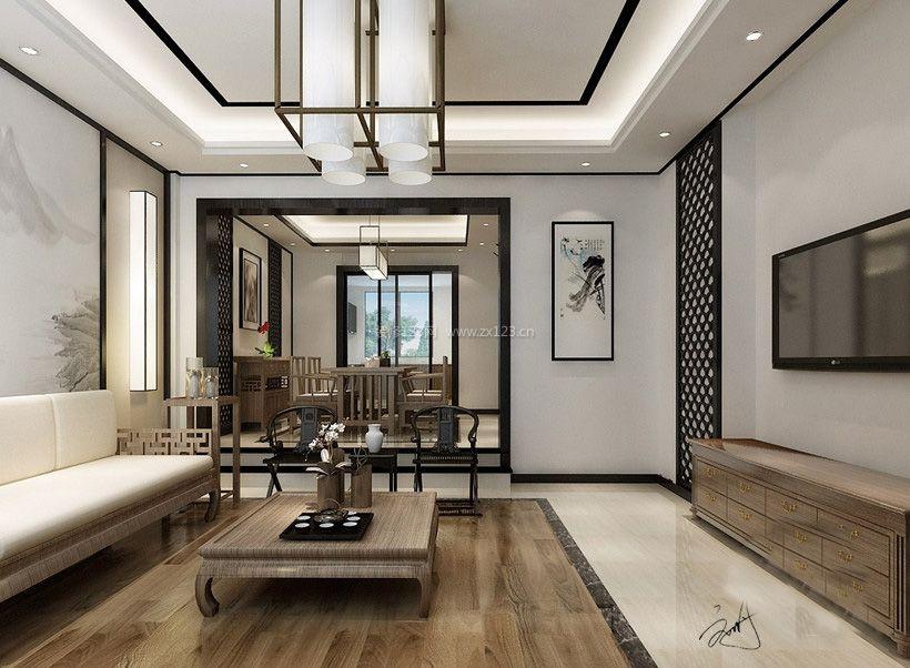 2018新中式别墅客厅吊灯造型设计效果图_装修123效果图