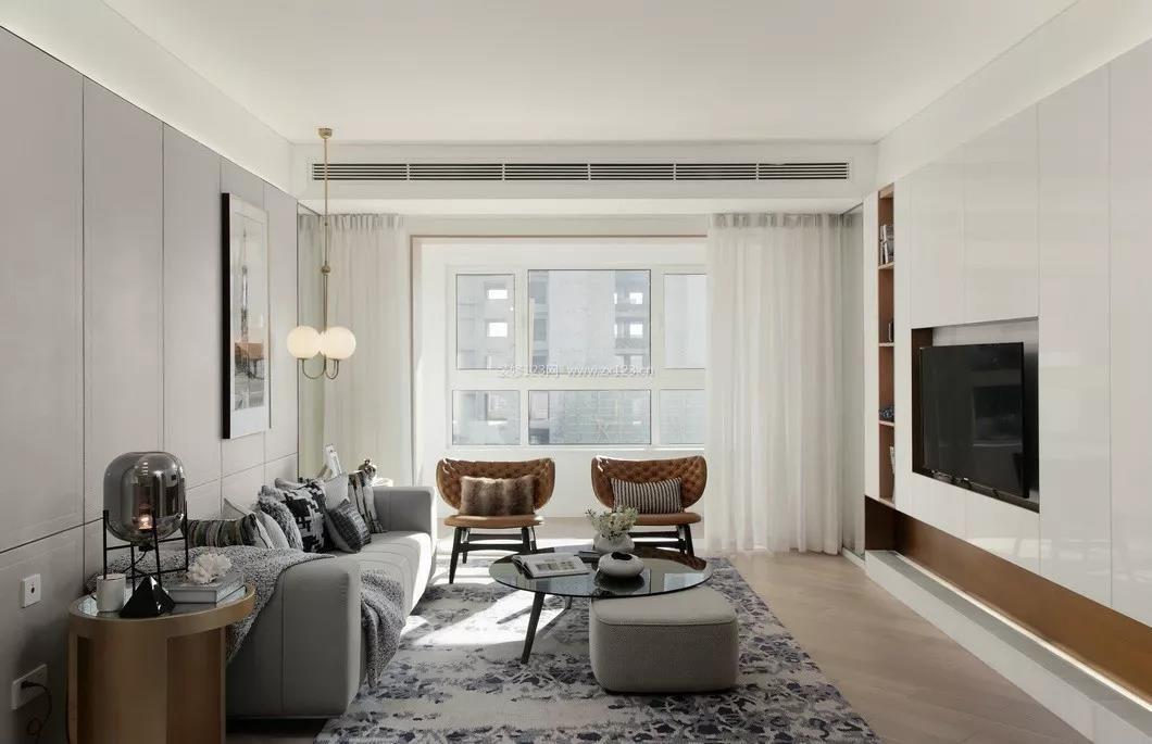 2018高级灰现代风格室内客厅效果图