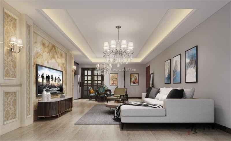 2018现代简欧客厅装修效果图 电视背景墙装修图片