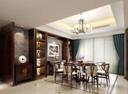 2018新中式餐厅窗帘装修装饰效果图欣赏图片