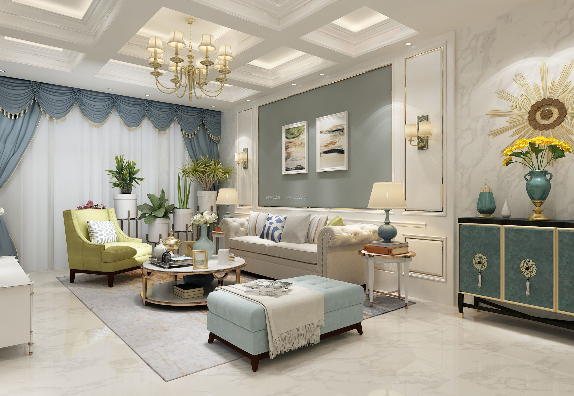 2018实用型简欧式客厅窗帘装修效果图片图片