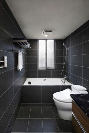2018小户型卫生间装修图片 2018卫生间黑色瓷砖效果图