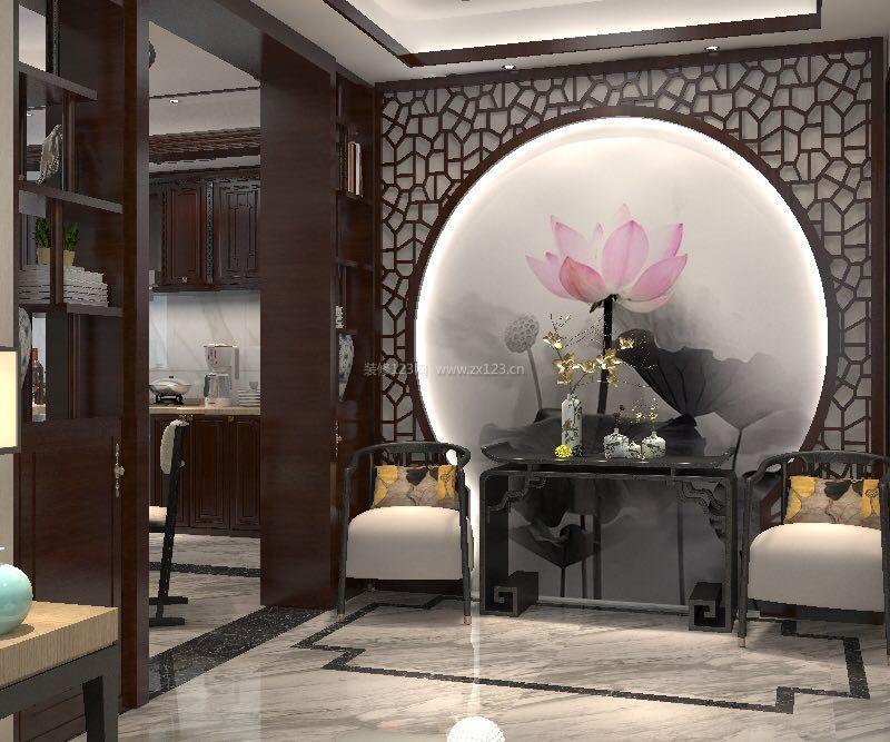 2018新中式别墅背景墙设计装修效果图