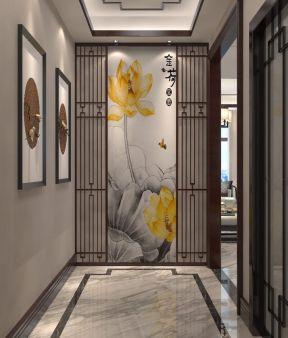 2018现代新中式别墅效果图 进门玄关背景墙效果图图片