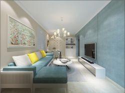 復式別墅客廳轉角布藝沙發裝修效果圖片