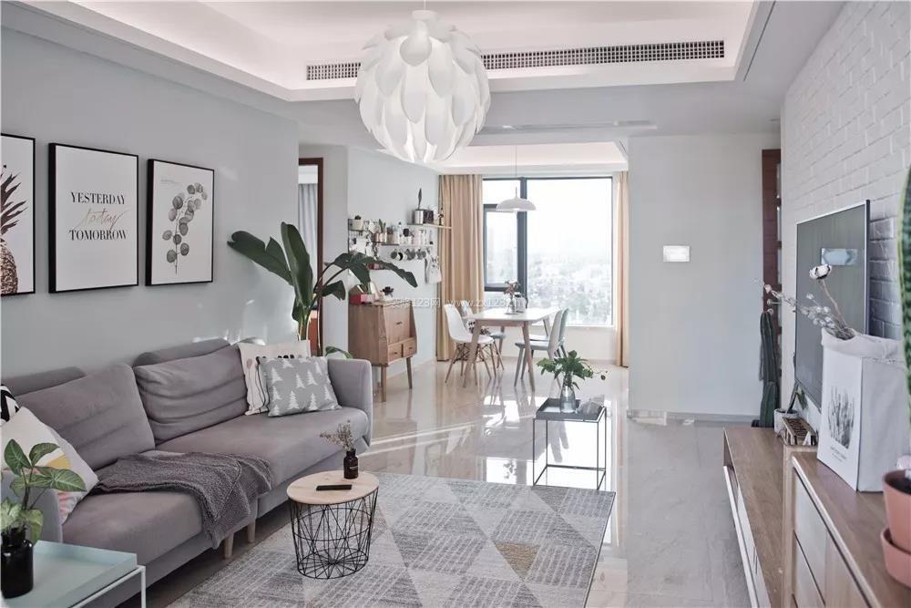 2018家装北欧风格客厅地砖效果图_装修123效果图图片