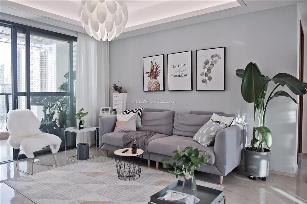 2018家装北欧风格客厅沙发图片_装修123效果图图片