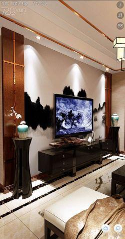 2018新中式客厅玻璃电视墙装饰装修效果图片