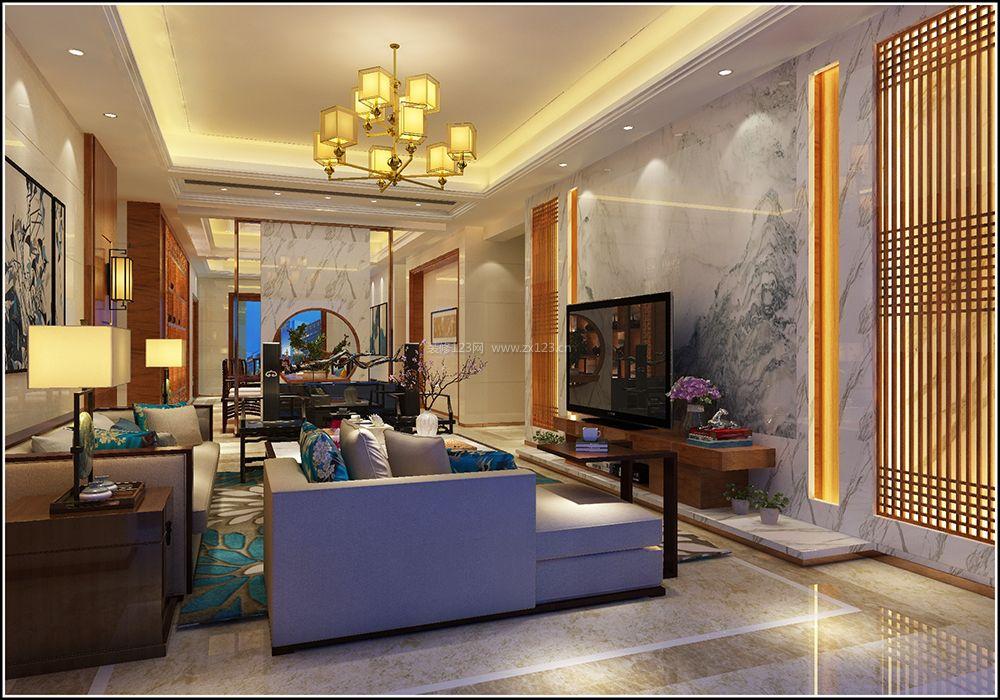 新中式风格客厅装修效果图大全 实木电视柜图