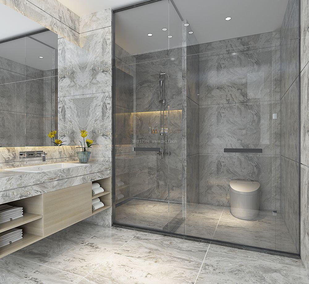 2018主卧室卫生间玻璃淋浴房装修效果图