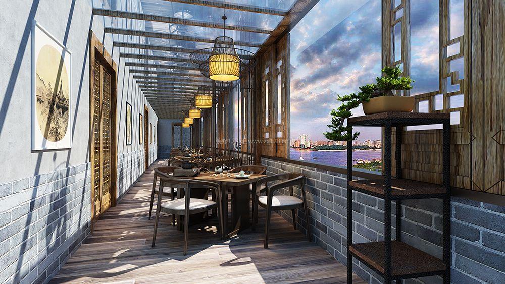 2018新中式餐厅阳光房装修效果图欣赏