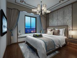 2018新中式主卧室飘窗榻榻米装修效果图图片