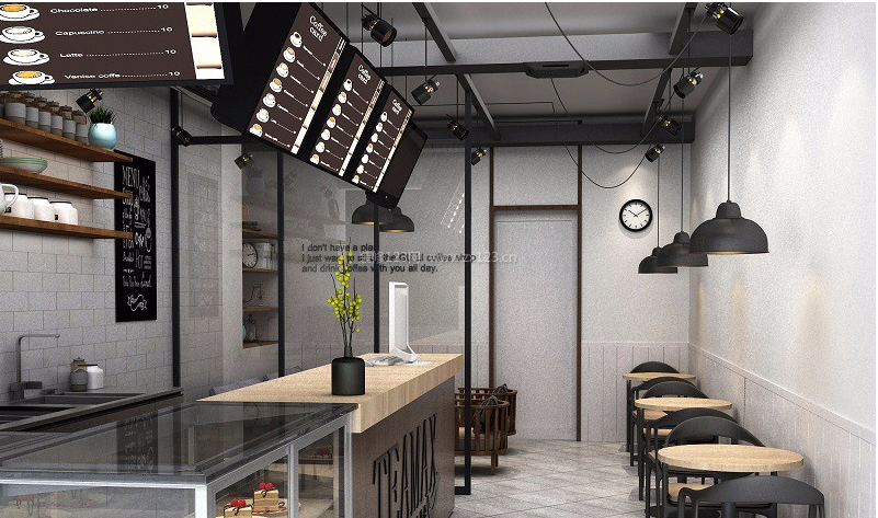 杭州慢茶朵朵奶茶店现代风格30平米装修效果图案例
