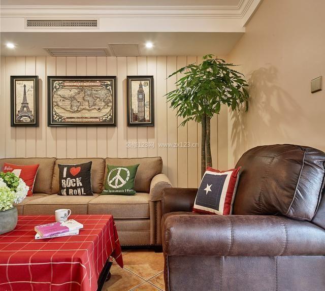 2018美式休闲风格客厅沙发背景墙装修图片图片