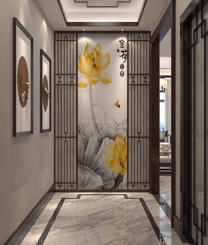 2018新中式别墅玄关背景墙装修效果图