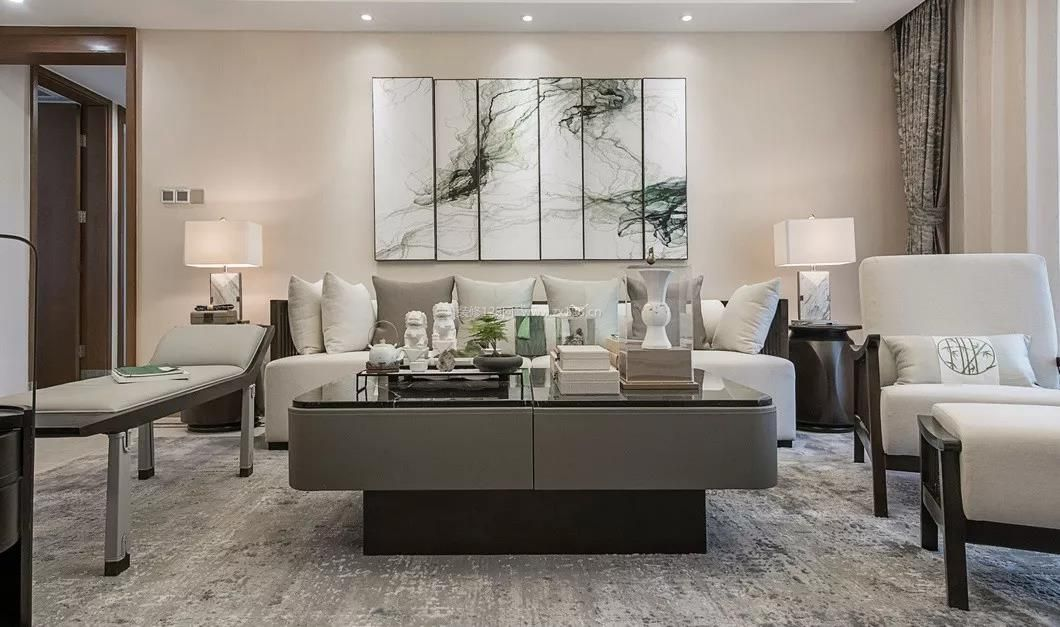 2018现代中式客厅沙发背景墙装修图片