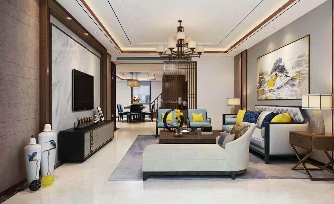2018现代新中式别墅客厅装修效果实景图大全
