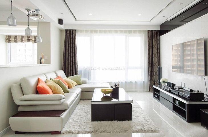 2018精致现代简约客厅装修图 白色地毯图片