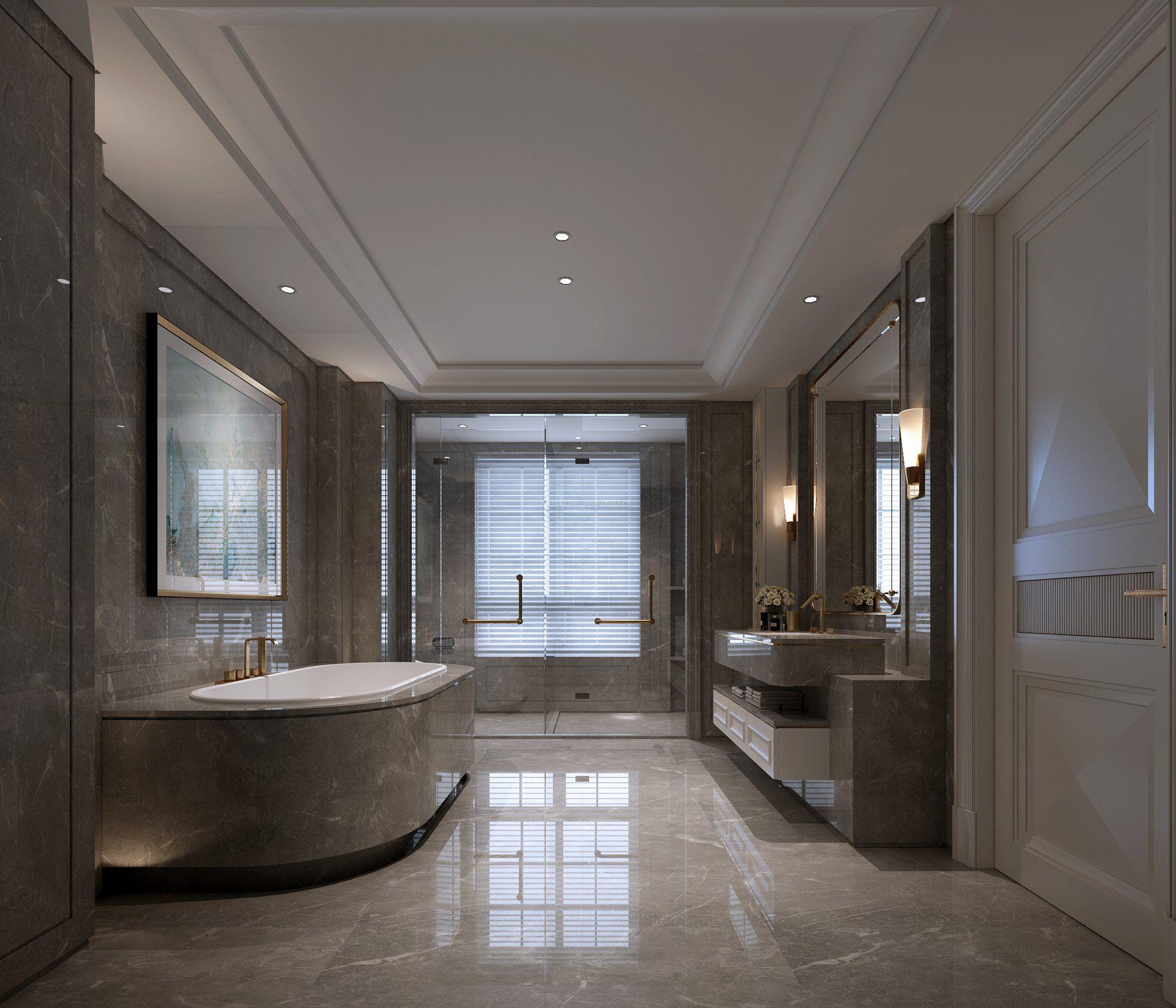 别墅洋房卫生间整体设计图片_装修123效果图