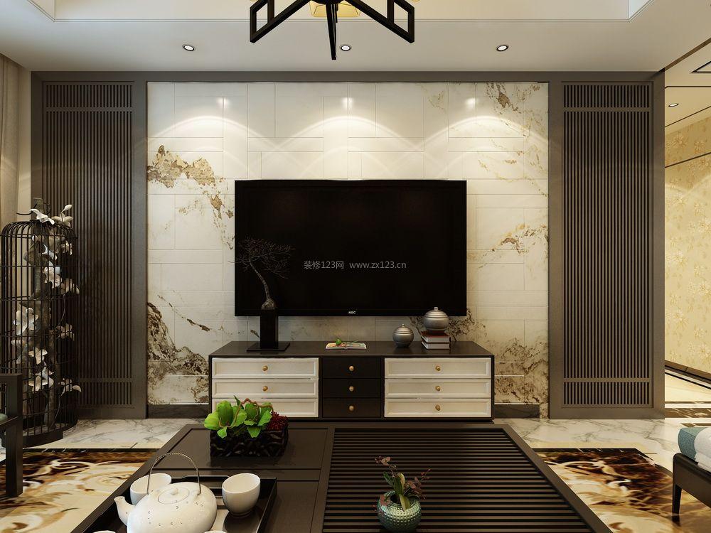 客厅新中式装修效果图 2018新款电视墙装修效果图