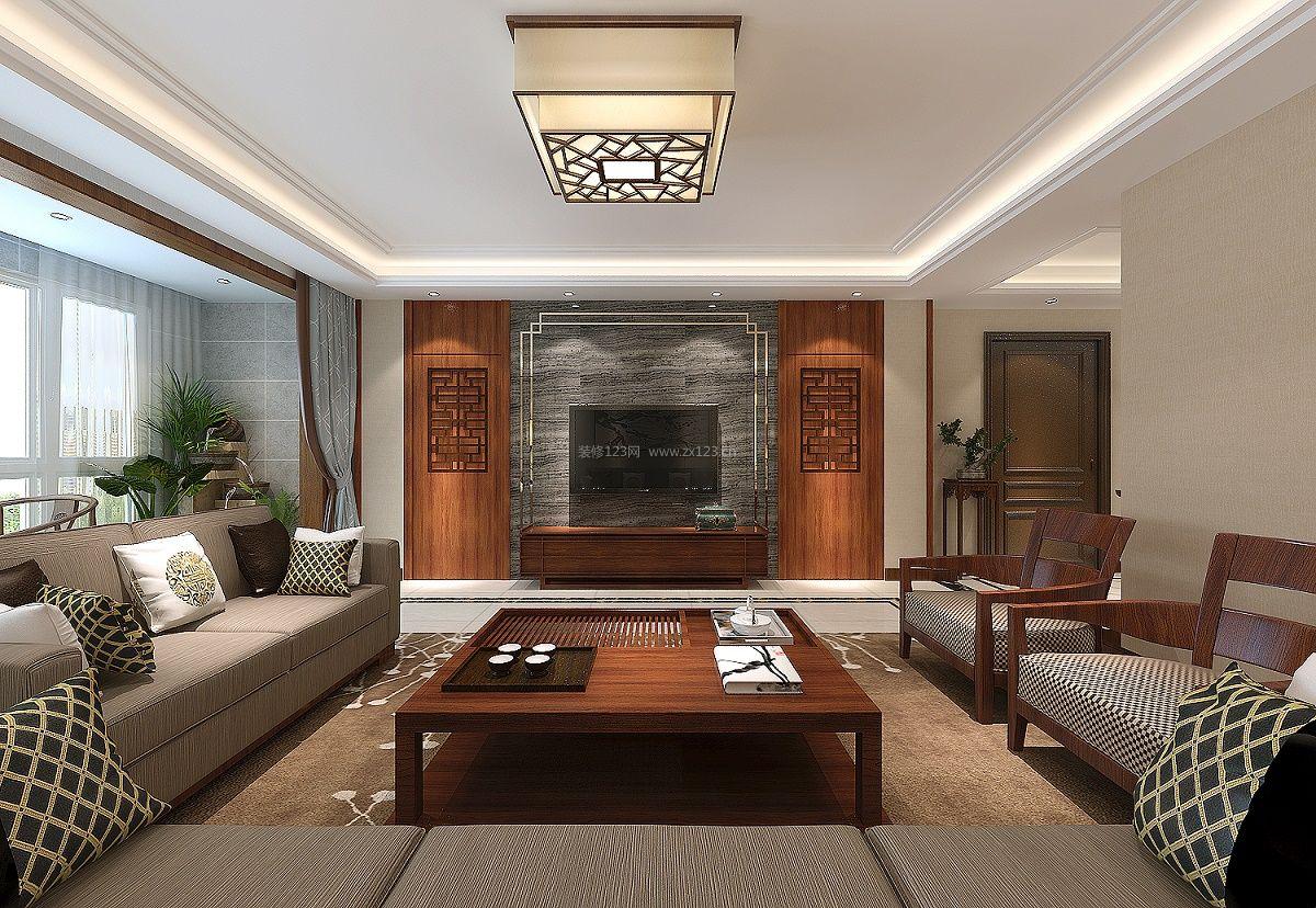 2018典雅新中式客厅电视背景墙设计效果图