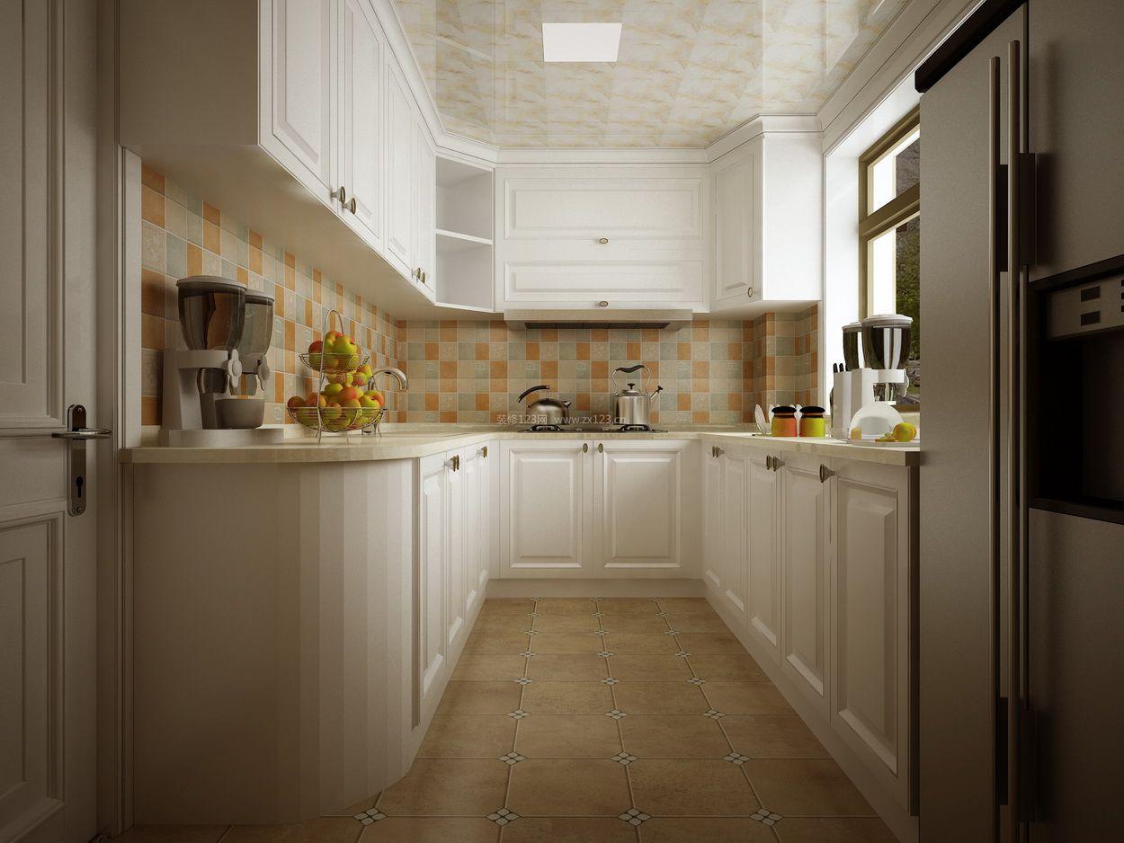 2018简约厨房u型橱柜装修设计效果图片