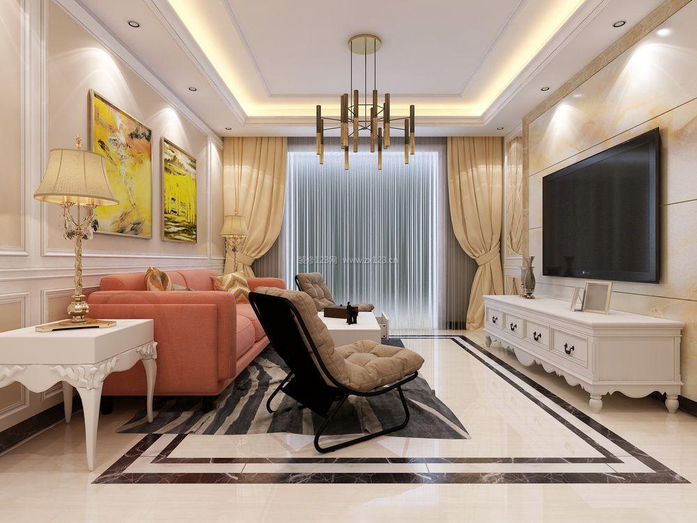 2018现代简欧客厅瓷砖电视墙装修效果图片