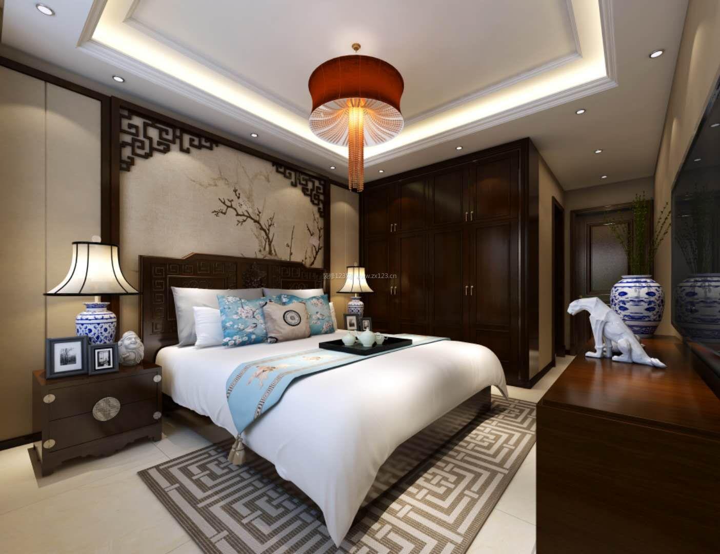2018中式主卧室房床头背景墙装修效果图