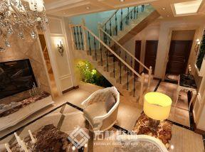 2018豪华欧式别墅设计 2018客厅楼梯下空间设计效果图
