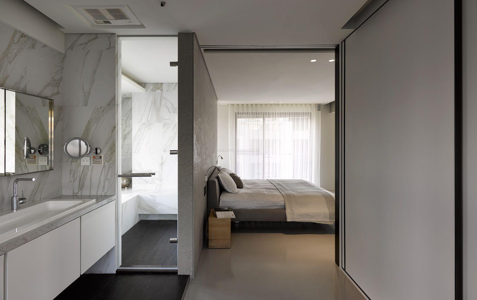 2018现代高档主卧室带卫生间装修效果图