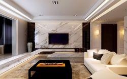 2018现代简约三室两厅客厅大理石电视背景墙装修效果图